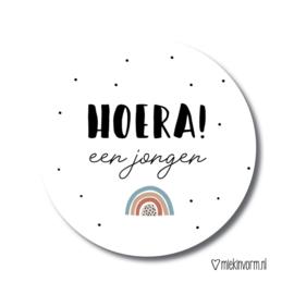 Sticker || Hoera! een jongen (regenboog) || per doosje 250 st