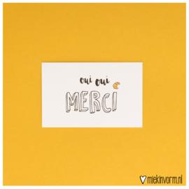 Oui oui merci || Mini-kaart || per 5 stuks