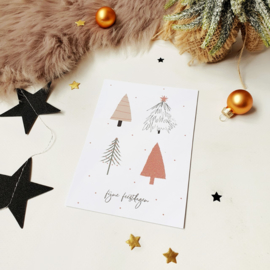 Ansichtkaart met glitterlak  || Fijne feestdagen || per 5 stuks