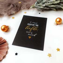 Ansichtkaart met goudfolie || Ik wens je dagen vol van liefde, kracht & moed ||  per 5 stuks