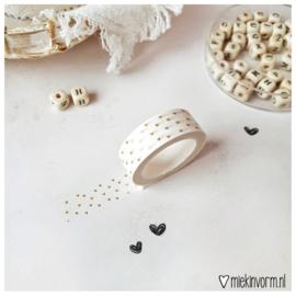 Masking tape || hartjes op wit goudfolie || per 5 stuks