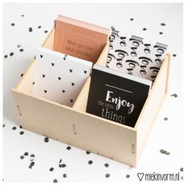 Houten box voor A6 kaarten || 4 vakken