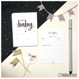 Babyshower meisje || Invulkaarten || set van 10 kaarten || per 5 stuks