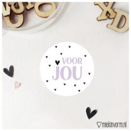 Sticker || voor jou (lila) || per doosje 250 stuks