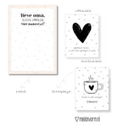 Ansichtkaart + theezakje    Lieve oma, gezellig samen een thee momentje?     per 5 stuks