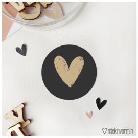 Sticker || Hart || zwart met goudfolie || per doosje 250 st
