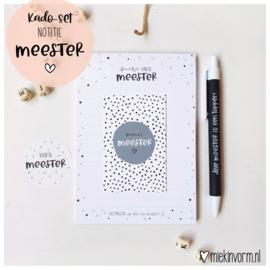 Kadoset Meester || Notitieblok A6 || per 5 stuks