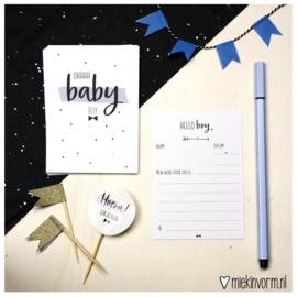 Babyshower jongen || Invulkaarten || set van 10 kaarten || per 5 stuks