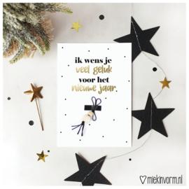 Ik wens je veel geluk in het nieuwe jaar || Ansichtkaart + gelukspoppetje || per 5 stuks