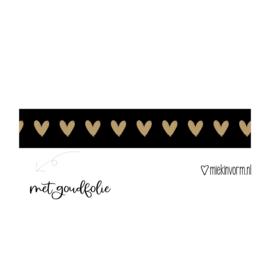 Masking tape    hart op zwart goudfolie    per 5 stuks