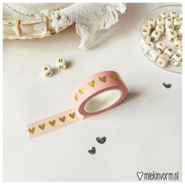 Masking tape || hart op zalm goudfolie || per 5 stuks