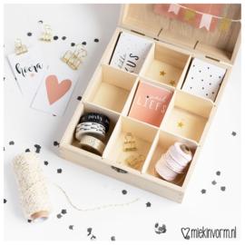 Houten box voor mini-kaarten || 9 vakken