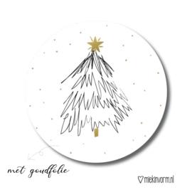 Sticker || Kerstboom || goudfolie || per doosje 250 stuks