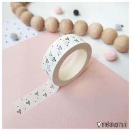 Masking tape || wit met hartjes & stipjes || per 5 stuks