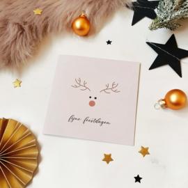 Dubbele ansichtkaart met glitterlak || Fijne feestdagen || per 5 stuks