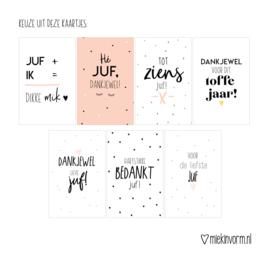 Kadootje voor de juf || Notitieblok A6 hartjes + potlood + minikaart + sticker || per 5 stuks