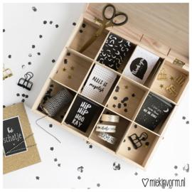 Houten box voor mini-kaarten || 12 vakken