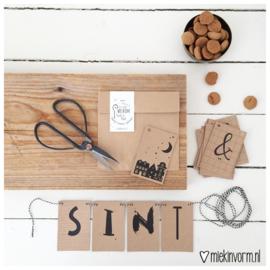 DIY letterslinger || Welkom Sint & Piet || kraftkaartjes || per 5 stuks