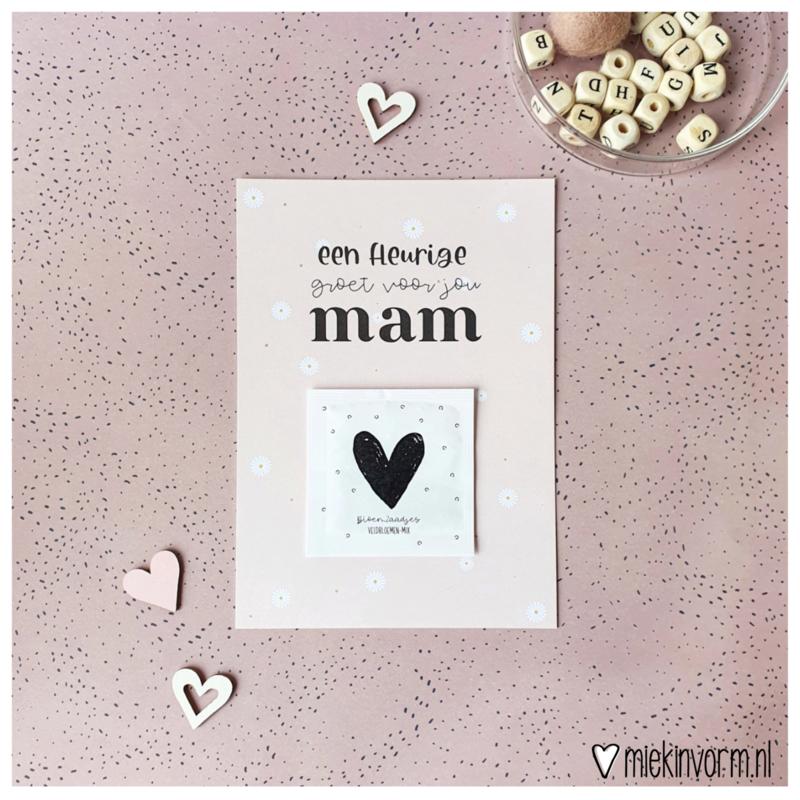 Ansichtkaart + zakje bloemzaadjes    Een fleurige groet voor jou mam    per 5 stuks
