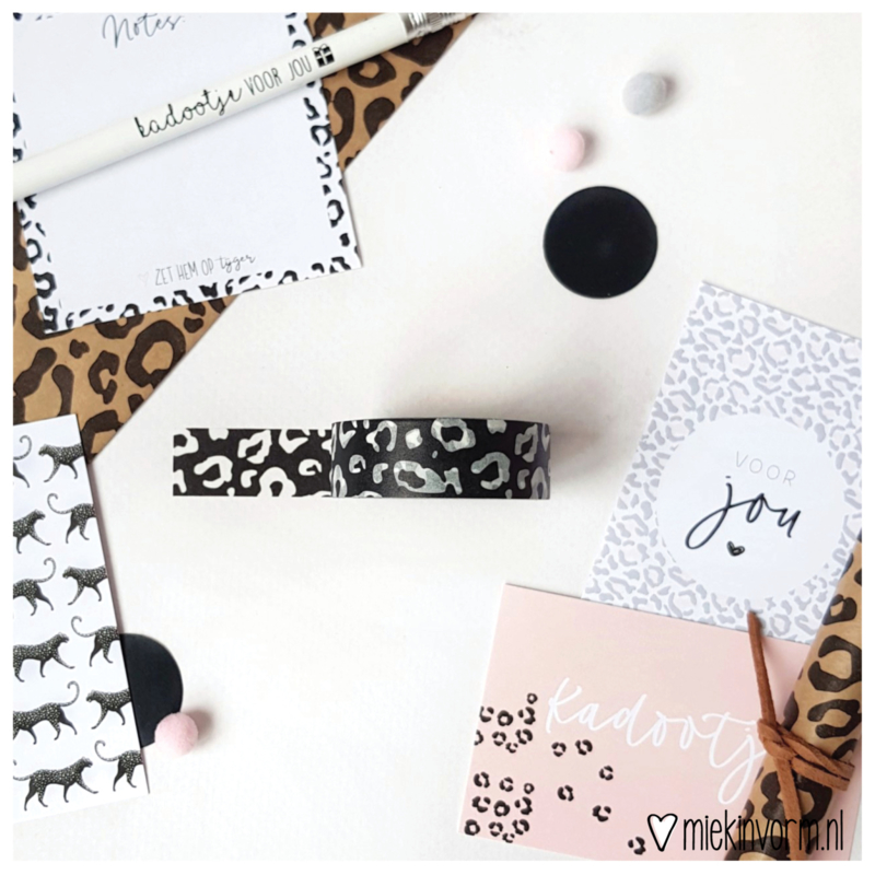 Masking tape || panter zwart || per 5 stuks
