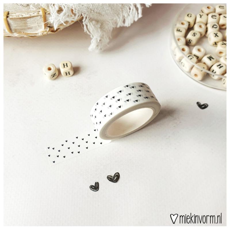 Masking tape    Hartjes zwart/wit    per 5 stuks