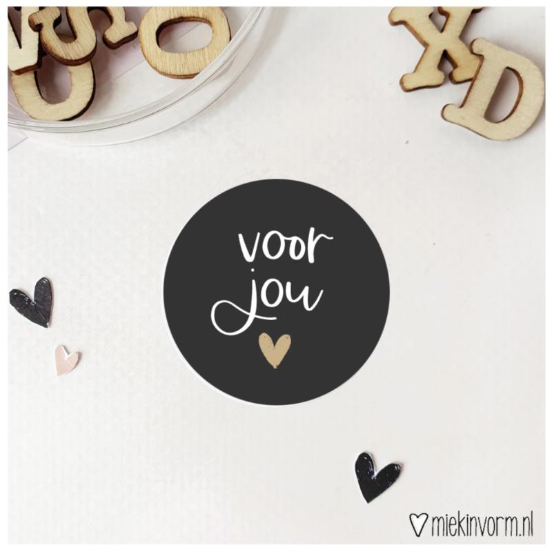 Sticker    Voor jou    met goudfolie    per doosje 250 st