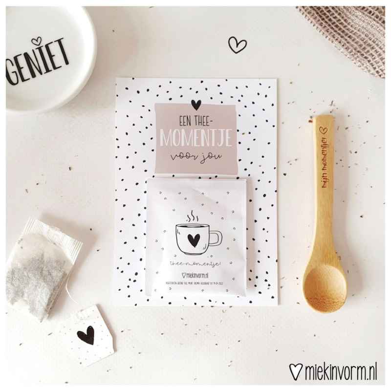 Ansichtkaart + theezakje    Een thee-momentje voor jou    per 5 stuks