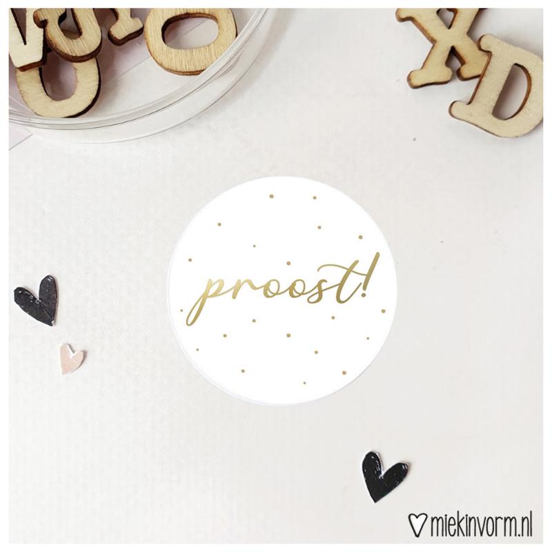 Sticker    Proost!    goudfolie    per doosje 250 stuks