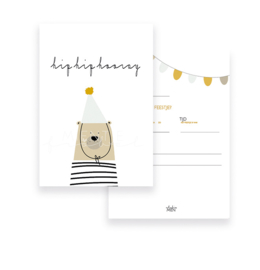 Uitnodiging A6 Hip Hip Hooray Bear Grey/Mint