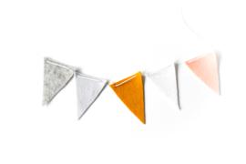 Vlaggenlijn Grijs Melee/Lichtgrijs/Mosterd/Wit/Peach