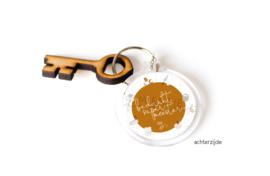 """Sleutelhanger + houten sleutel """"Supermeester"""""""