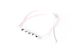 Armbandje #Juf Roze