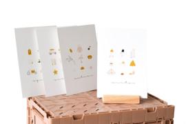 Ansichtkaart | Seizoenen set van 4 + houten kaarthouder