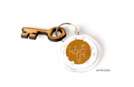"""Sleutelhanger + houten sleutel """"Superjuf"""""""