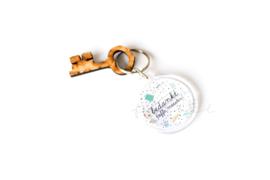"""Sleutelhanger + houten sleutel Stationary """" Bedankt toffe meester"""""""