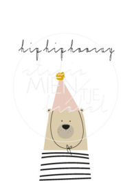 Uitnodiging A6 Hip Hip Hooray Bear Roze