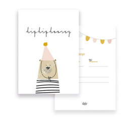 Invitation A6 | Hip Hip Hooray Bear Pink (Dutch)