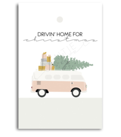 "Cadeaukaartje ""Drivin' home for Christmas"""
