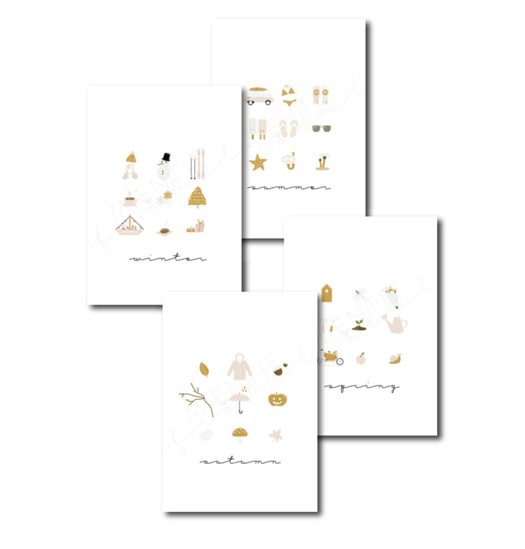 Ansichtkaart | Seizoenen set van 4