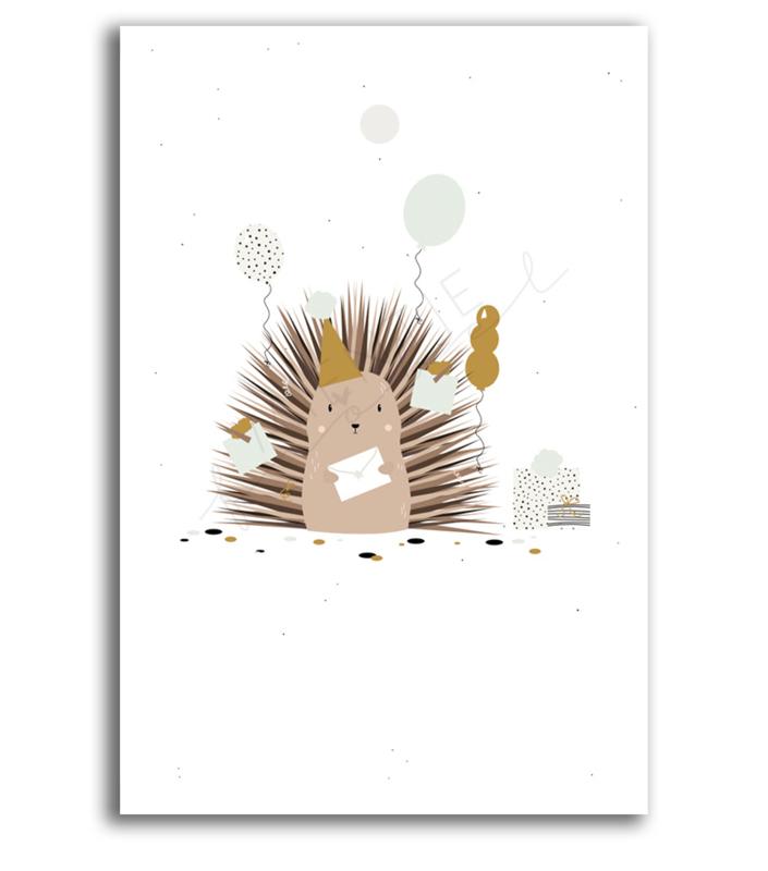 """Cadeaukaartje """"Hedgehog"""" - zonder tekst"""