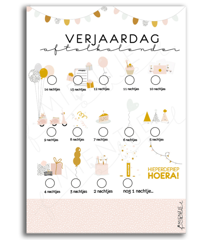 Aftelkalender verjaardag / Poster verjaardag | Roze