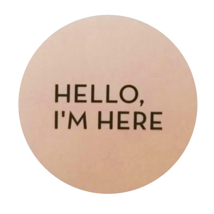 Sticker Hello I'm Here roze