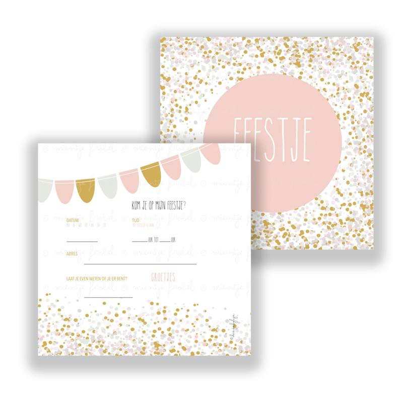 Uitnodiging mint/oker/roze set per stuk