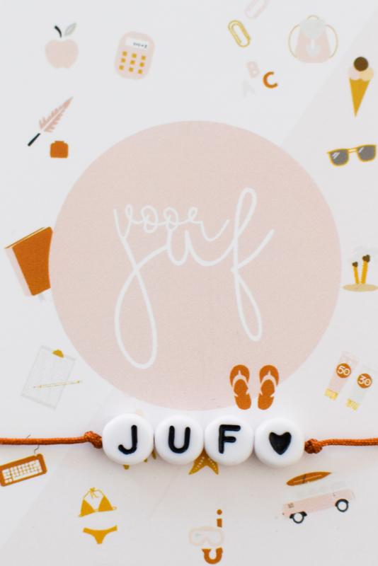 """Armbandje #Juf Roest met kaartje """" Voor Juf"""""""