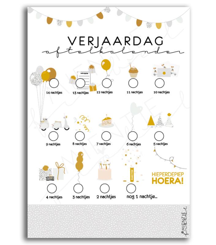 Aftelkalender verjaardag / Poster verjaardag | Grijs