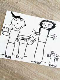 Kindertekening op hout