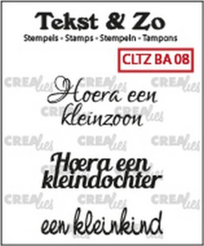 Crealies Tekst & Zo clear stamp - baby 08 (NL)
