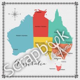 Australië - Memories Map - 12 x 12 inch