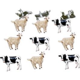 Koeien en geiten -  splitpen decoratie - zakje 12 stuks