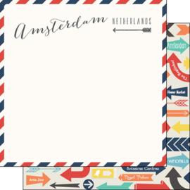 Amsterdam - Air Mail Arrows - Netherlands 12x12 inch scrapbook papier